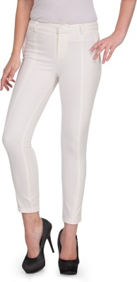 XnY Slim Fit Women's White Trousers