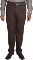 Maharaja Slim Fit Mens Brown Trousers