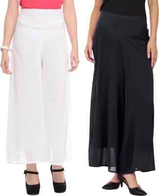 La Verite Regular Fit Women's Black, White Trousers