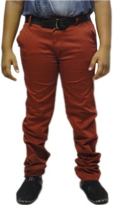 A Flash Slim Fit Boy's Maroon Trousers
