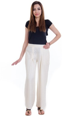 Fille Divin Regular Fit Women's White Trousers