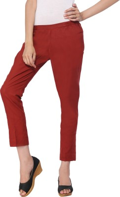 Delfe Slim Fit Women's Maroon Trousers