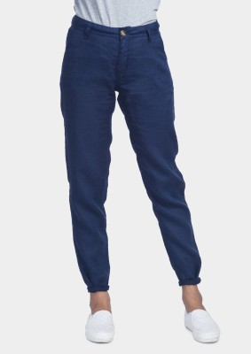 Bhane Regular Fit Women's Blue Trousers