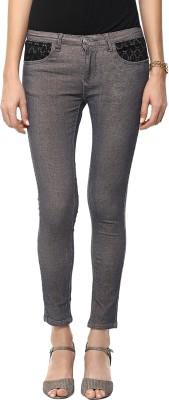 GOFAB Skinny Fit Women's Green Trousers