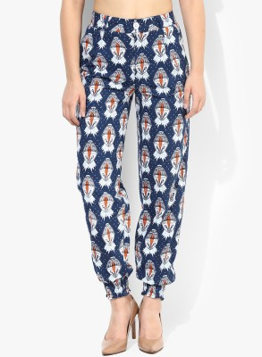 Avishi Regular Fit Women's Blue, White, Orange Trousers