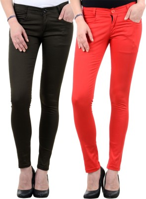 iHeart Skinny Fit Women's Multicolor Trousers
