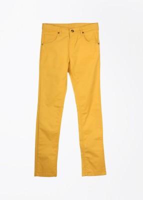 Gini & Jony Slim Fit Girl's Yellow Trousers