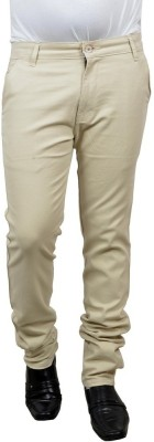 Risingfeathertofly Slim Fit Men's Cream Trousers