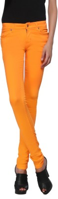 Zedon Slim Fit Women's Orange Trousers