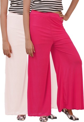 Ace Regular Fit Women's White, Pink Trousers