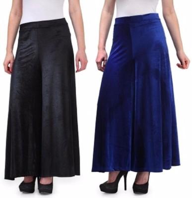 Viba London Regular Fit Women's Black, Blue Trousers