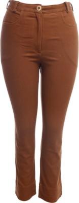 TRYFA Regular Fit Women's Brown Trousers