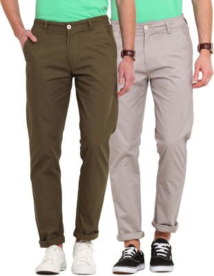Ennoble Slim Fit Men's Grey, Green Trousers