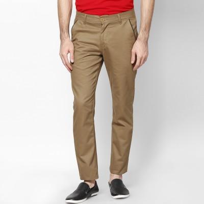 Haute Couture Slim Fit Men's Brown Trousers