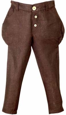 Lil Poppets Regular Fit Boy's Linen Brown Trousers