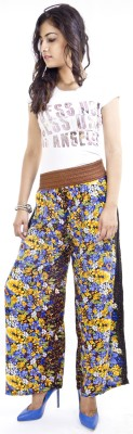 Cotton Flake Regular Fit Women's Yellow, Blue Trousers