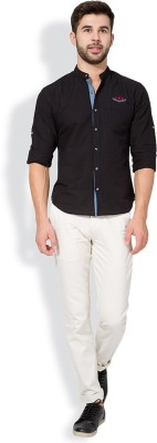 The Indian Garage Co. Slim Fit Men,s Cream Trousers