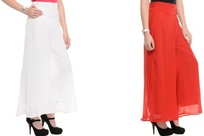 Kyron Regular Fit Women,s White, Red Trousers
