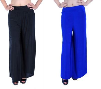 Ajaero Regular Fit Women's Black, Blue Trousers
