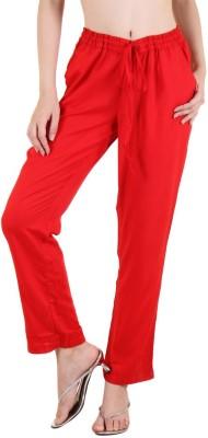 Zoae Regular Fit Women's Red Trousers