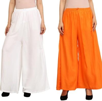 Guru Nanak Fashions Regular Fit Women's White, Orange Trousers