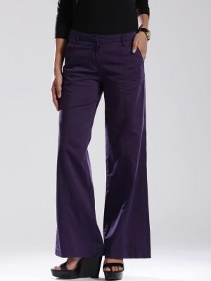 D Muse by DressBerry Regular Fit Women's Purple Trousers