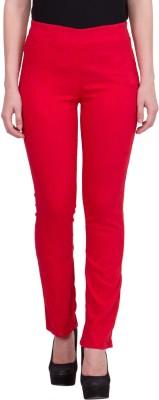 R4U Denim Factory Slim Fit Women's Red Trousers