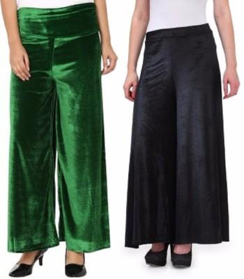 Viba London Regular Fit Women's Green, Black Trousers