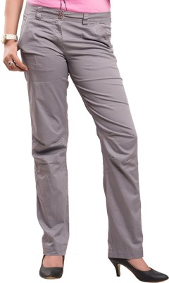 Begonia Regular Fit Women's Grey Trousers