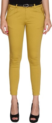 Bedazzle Slim Fit Women's Yellow Trousers