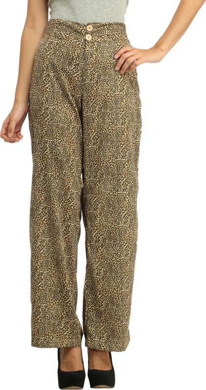 Cottinfab Slim Fit Women's Brown, Multicolor Trousers
