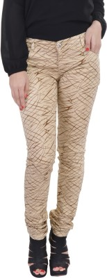Jheel Slim Fit Women's Beige Trousers