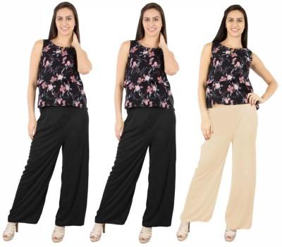 Fashion Flow+ Regular Fit Women's Black, Black, Beige Trousers