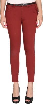 Bedazzle Slim Fit Women's Maroon Trousers
