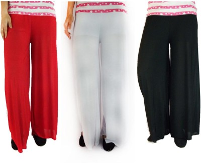 B VOS Regular Fit Women's Red, Black, White Trousers