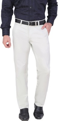Louppee Regular Fit Men,s White Trousers