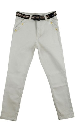 Scary Slim Fit Boy's Cream Trousers