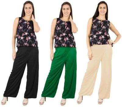 Fashion Flow+ Regular Fit Women's Black, Green, Beige Trousers