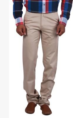 Cotton colors Regular Fit Men's Cream Trousers