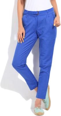 Elle Regular Fit Women's Blue Trousers