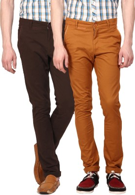 I-Voc Slim Fit Men's Brown, Brown Trousers