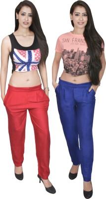 carrol Regular Fit Women's Red, Blue Trousers