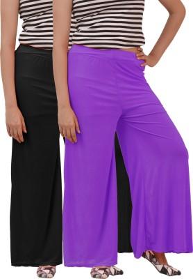Ace Regular Fit Women's Black, Purple Trousers