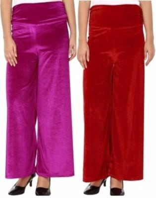 Viba London Regular Fit Women's Pink, Maroon Trousers