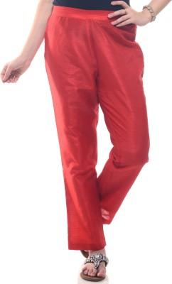 Lyla Regular Fit Women's Red Trousers at flipkart