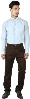 0-Degree Regular Fit Men's Brown Trousers