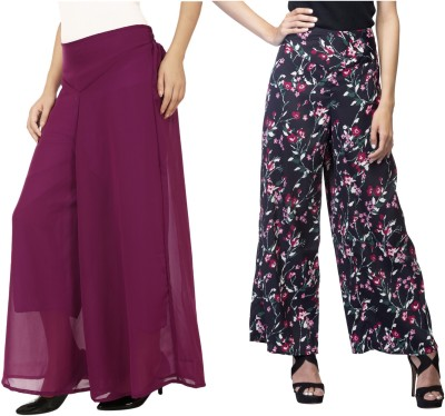 Lambency Regular Fit Women's Black, Multicolor, Purple Trousers