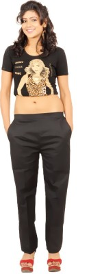 maurya mix and match Regular Fit Women's Black Trousers