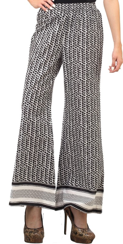 Cottinfab Regular Fit Women's Black, White Trousers