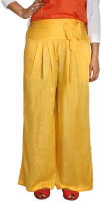 Shahfali Regular Fit Womens Linen Yellow Trousers